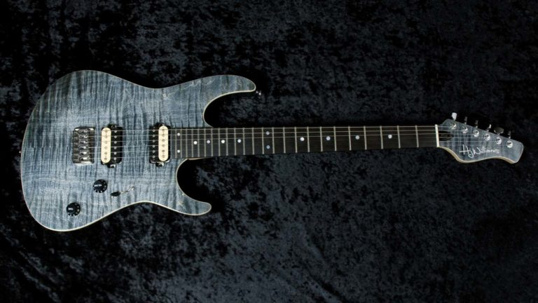 Evo with flame maple drop top in faded denim.